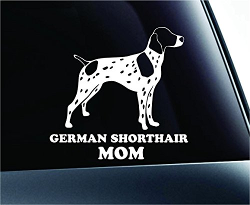 ExpressDecor German Shorthair Mom Dog Symbol Decal Paw Print Dog Puppy Pet Family Breed Love Car Truck Sticker Window (White)