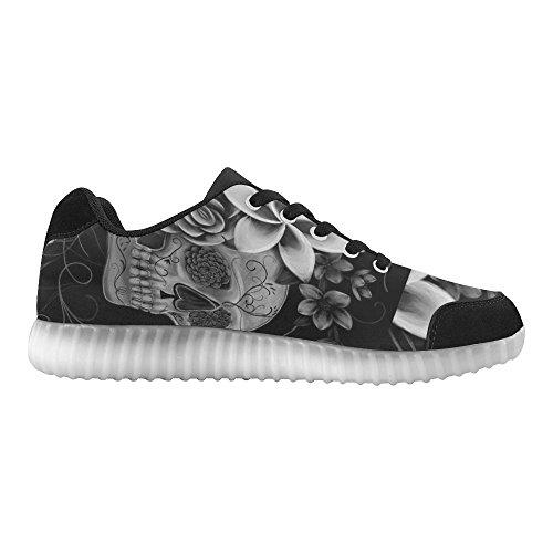 Les Fleurs De Crâne Dinterestprint Éclairent Des Chaussures Clignotantes Des Baskets Occasionnelles Des Chaussures Plates Pour Des Femmes
