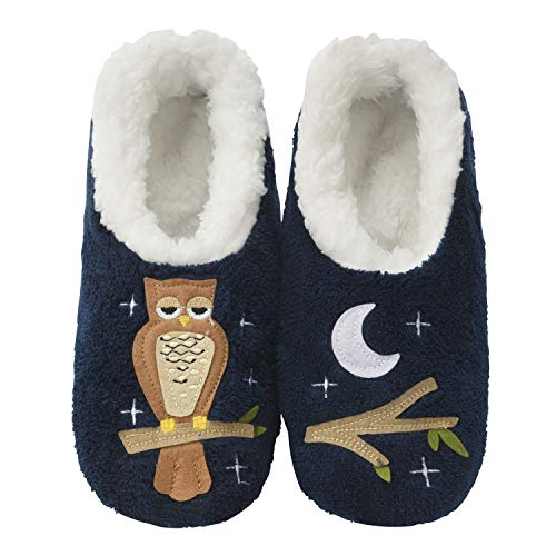 Snoozies Womens Classic Splitz Applique Slipper Socks | Up Owl Night | X-Large