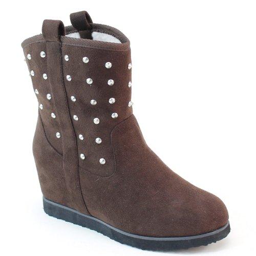 New Brieten Womens Spike Studded Wedge Short Boots