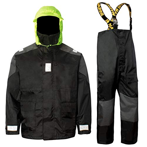 Coastal Sailing Jacket with Bib Pants Fishing Rain Suit Foul Weather Gear (Black, XL)
