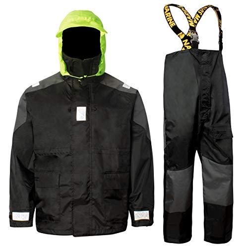 Coastal Sailing Jacket with Bib Pants Fishing Rain Suit Foul Weather Gear (Black, XL)