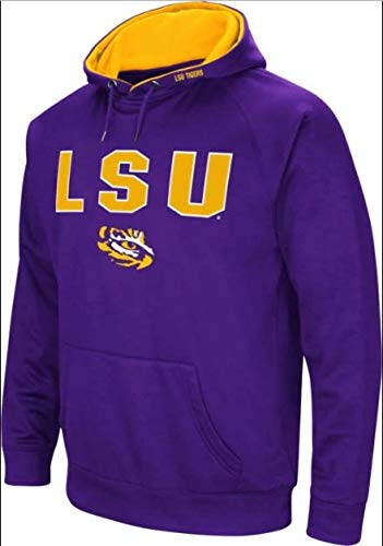 - Colosseum NCAA Men's-Cold Streak-Dual Blend-Fleece Hoodie Pullover Sweatshirt with Tackle Twill Embroidered Team Name and Logo-Team Colors (LSU Tigers-Purple, Small)