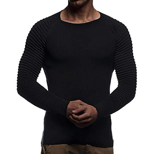 Longues Noir Automne Tricoter À Homme Drapé Top shirt Hiver Tee Malloom Manches Rayé Blouse AzwqnB1H