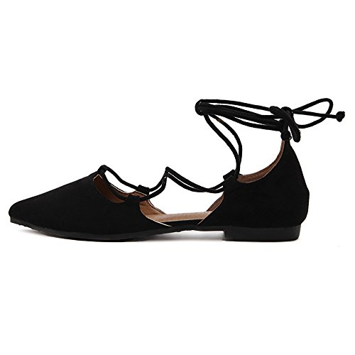 Meeshine Womens DOrsay Pointy Toe Ankle Strap Wrap Ballet Flats Lace Up Flat Shoes Black QSBiTRv26