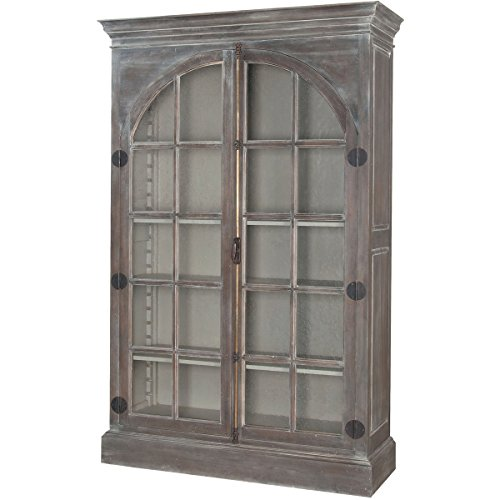 Sterling Home Manor Arched Door Display Cabinet bookcase, Gray