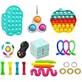 Sensory Fidget Toys Pack, Cheap Stress Anxiety Relief Toys Set with Triple-head Dimple, Push Pop Bubble Toys Stress…