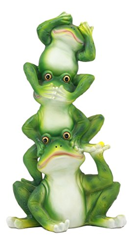 (Ebros Stacked Acrobatic Toads See Hear Speak No Evil Frogs Totem Statue Animal Figurine Collectible)