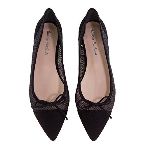 Flats I Machado Svart Ballet made large Spania Skinn Sizes Andres Mesh Celia Semsket YqR7xvp