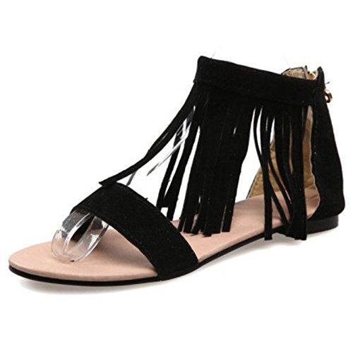 LongFengMa Women's Fashion Solid Tassel Zipper Flats Sandals Shoes Black