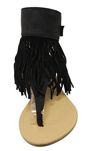 Anna Rebel-1 Mujeres Slingback Correa Para El Tobillo Correa De Flecos Sandalias Negro