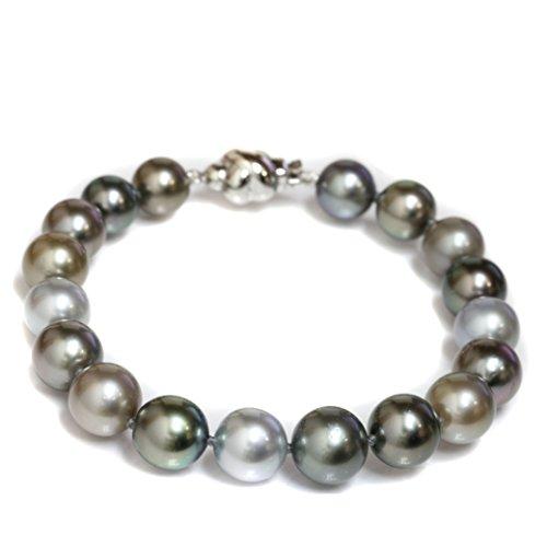 South Sea Pearl & Diamond Bracelet (14k Gold - Tahitian South Sea Pearl Bracelet 10 - 8 MM AAA Natural Rare color Multicolor)