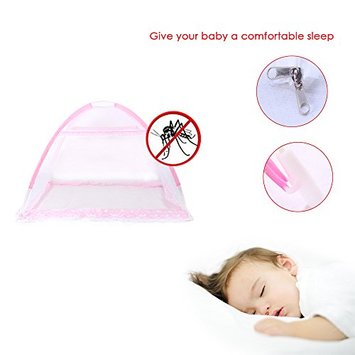 Sealive New Safe Foldable Mosquito Net Infant Toddler Bed Canopy Dome Hanging Net Soft Lightproof Crib Collapsible Netting (A1)