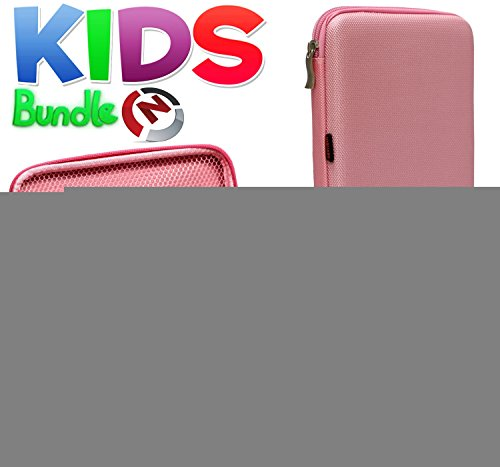 Navitech Kids Bundle Pack Including Child Friendly Pink Eva hard case,Two touchscreen gaming controllers and Stylus For the Nabi 2 Nickelodeon Edition