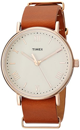 Timex Men's TW2R28800 Southview 41mm Tan/Rose Gold-Tone/White Leather Strap Watch (Mens Watches Leather Brown Gold)