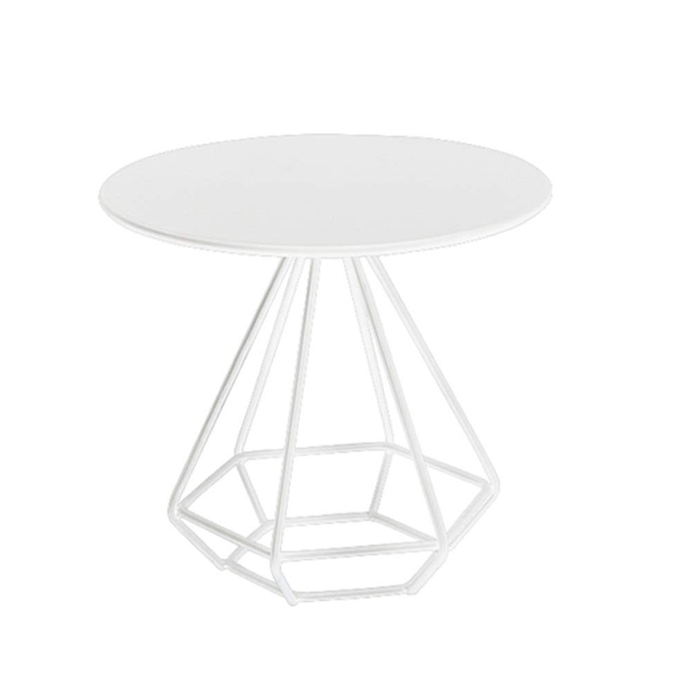 White 60cm 23.6'' ZXQZ Side Table, with Steel Round Table Top Coffee Table, for Living Room, Bedroom, Balcony, Parlor Table 3 colors (gold, Black, White) Tea Table (color   gold, Size   50cm 19.6'')