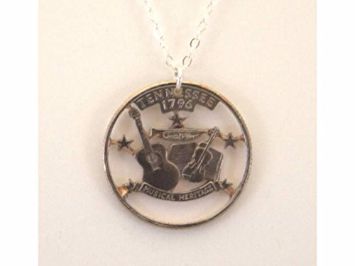 Tennessee State Coin - Edgar Marcus Tennessee Cut-Out Coin Necklace State Quarter 18 inch Chain
