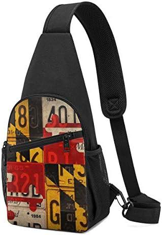 メリーランドの旗 アメリカ 斜め掛け ボディ肩掛け ショルダーバッグ ワンショルダーバッグ メンズ 多機能レジャーバックパック 軽量 大容量