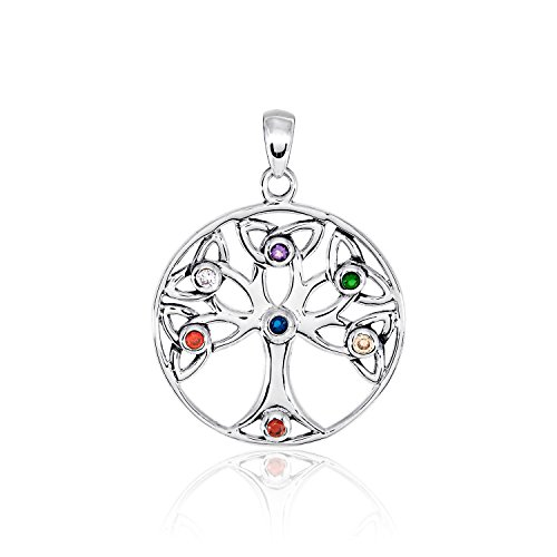 WithLoveSilver 925 Sterling Silver Celtic Trinity Tree of Life Chakra 7 Colours Simulated Cubic Zirconia Pendant