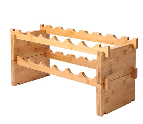 Finnhomy 12-Bottle Stackable Natural Bamboo Wine Display and Storage (12 Bottle Wood Wine Rack)