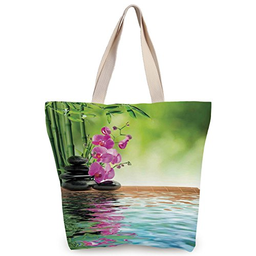iPrint Stylish Canvas Tote Bag,Spa Decor,Orchid Flower Stone Oriental Culture Spirituality Wellness Tropical Holiday,Canvas Shopping bag,shoulder handbags,Shoulder Bag by iPrint (Image #3)