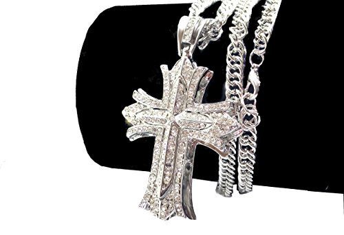 - Iced Out CZ Cross 14K Hip Hop Silver Plate Jewelry, Bling Bling Pendant Necklace 30
