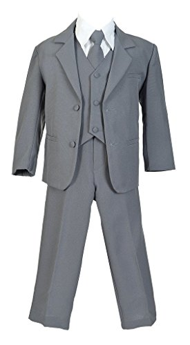 iGirlDress Boys Formal Dress Suit with Shirt and Vest Gray 12 by iGirldress (Image #1)