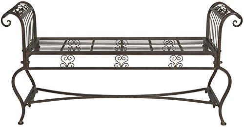 (Safavieh Outdoor Collection Brielle Rustic Brown Bench)