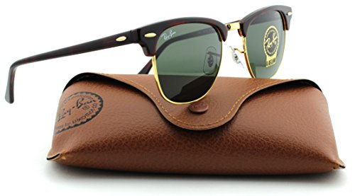 Ray-Ban RB3016 Clubmaster Tortoise Arista Frame/Crystal Green Lens W0366, - Ray Rb3016 Sunglasses Clubmaster Ban 49mm