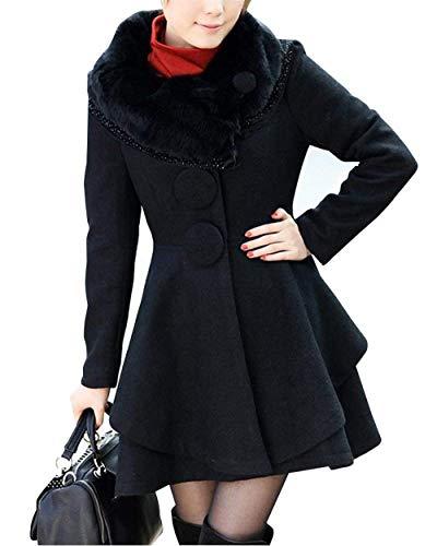 Parkas Slim Botón Moda De Schwarz Sólidos Prendas Colores Abrigos Manga Mujer Chaqueta Larga Invierno Cuello Exteriores Fiesta Fit Piel T4w05zqU