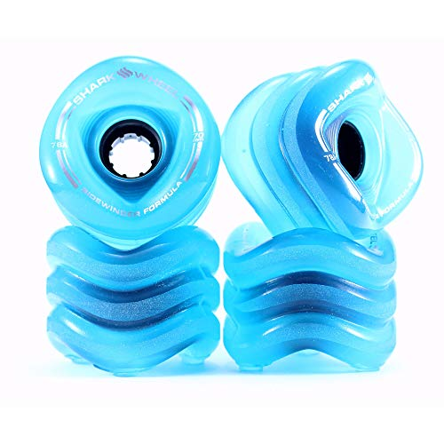 Shark Wheel Sidewinder 70mm 78A All-Terrain Skateboard Longboard Wheels, Blue