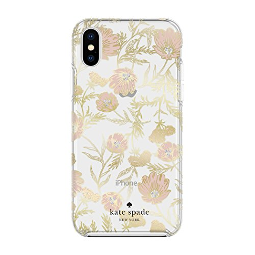 Kate Spade New York Phone Case | for Apple iPhone X and 2018 iPhone Xs | Protective Phone Cases with Slim Design, Drop Protection, and Floral Print - Blossom Pink/Gold - Gem Blossom