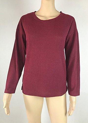 Pulls Fashion Col Legendaryman Casual Tees Automne Tops Sweat Printemps Jumpers Shirts Longues Hauts Rond Rouge et Couleur Shirts Vin Manches Shirts Femmes Unie Blouse T x6Xp7x