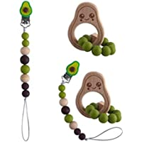 Avocado Baby Wooden Teether and Dummy Clip - Cute Teether To Help Soothe Your Babies Pain - Easily Attach Our Avocado…