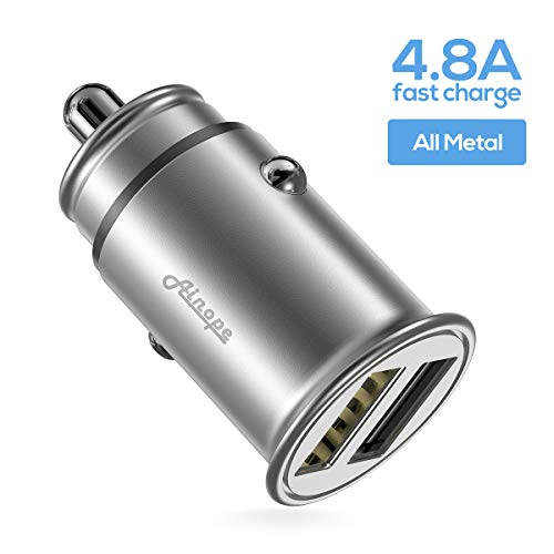 Car Charger, Ainope 4.8A Aluminum Alloy Car Charger Adapter Dual USB Port Fast Car Charging Mini Flush Fit Compatible Phone xs/x/8, iPad Air 2/Mini 3, Samsung Note9/ Galaxy S9/S8/S7 - Sliver (1-Pack)