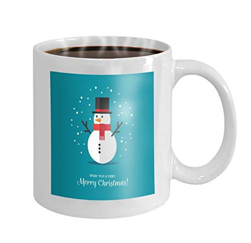 - Personalized Gift Birthday, Anniversary, Customized Celebrating Gift White Tee Cup 11oz flat snowman icon cute style winter symbol christmas new year greeting card design element Drawing