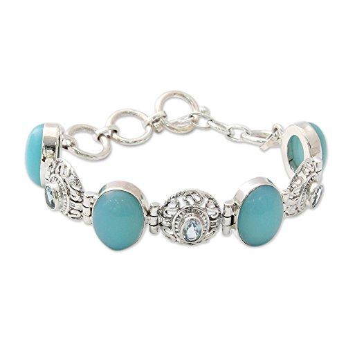 (NOVICA Multi-Gem Chalcedony .925 Sterling Silver Link Bracelet, 7
