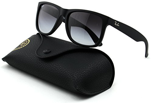 Ray-Ban RB4165 Justin Unisex Rectangular Sunglasses (Rubber Black Frame/Grey Gradient Lens 601/8G, - Ban 601 8g Ray Rb4165 Justin