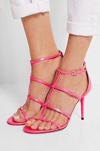 Peep Scarpe Tacco Ufficio Eldof 10cm Gladiatore Di Donne Vernice Sandali Delle Toe Alto Rosa Talloni Classico Oddrxqnz