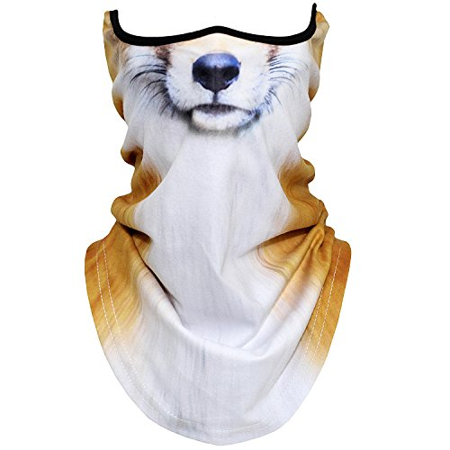 AXBXCX Animal 3D Prints Neck Gaiter Warmer Half Face Mask Scarf Windproof Dust UV Sun Protection for Skiing Snowboarding Snowmobile Halloween Cosplay Fox
