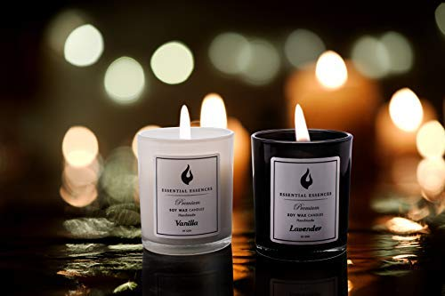 Essential Essences Handmade Soy Wax Scented Candles with Essential Oils in Vanilla /& Lavender Fragrances for Bath and Body Perfect for Men and for Women All Natural Aromatherapy