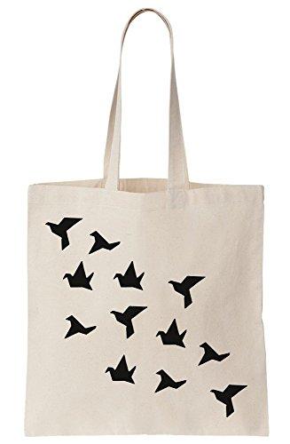 Bag Black Tote Birds Canvas Origami 76wOHgxO