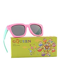 GQUEEN Rubber Flexible Kids Rectangle Polarized Sunglasses for Boys Girls ET18