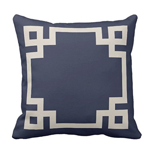 Greek Square Design Gold (Emvency Throw Pillow Cover Cute Preppy Navy Blue and Beige Greek Key Border Girly Decorative Pillow Case Home Decor Square 18 x 18 Inch Pillowcase)
