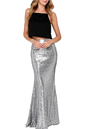 Honey Qiao Mermaid Sequin Wedding Party Skirts Maxi Silver Holiday Formal (Silver Sequin Skirt)