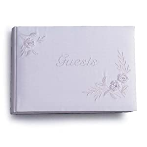Darice VL2016-01, Guest Book White with Embroidery