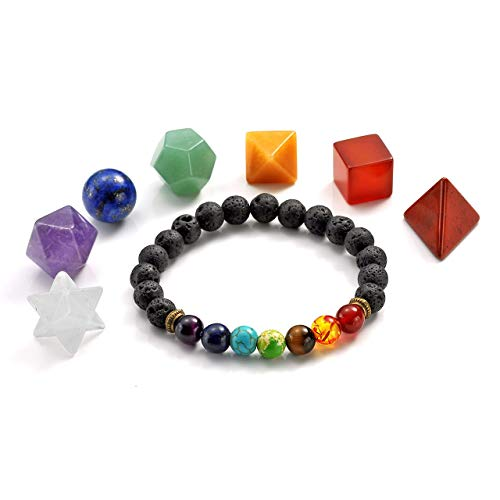 tal Platonic Solids Sacred Geometry Set w/Merkaba Star and Lava Stone Chakra Diffuser Grounding Bracelet Set for Meditation Reiki Healing Balancing ()