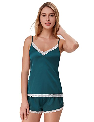 Silk Pajamas for Women V-Neck Tank Top with Shorts Cami Sets Green Size S ZE47-1 (Tank Dress Silk)