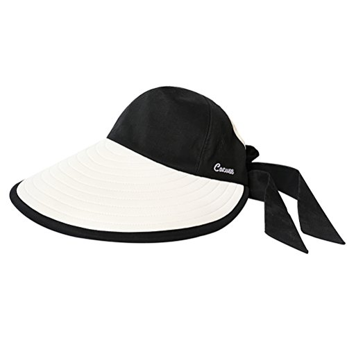 CACUSS Women's Summer Sun Hat Large Brim Visor with Bowknot Adjustable UPF 50+ by CACUSS (Image #1)