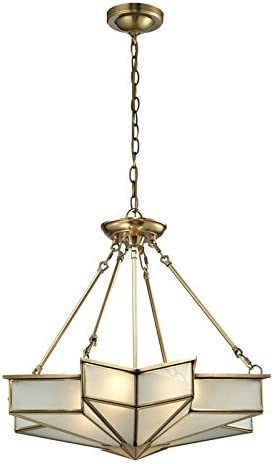 ELK Lighting 22012 4 Decostar Collection 4 Light Pendant, 22 x 25 x 25 , Brushed Brass